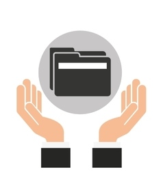 Hands businessman data folder file vector