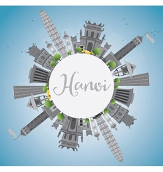 Hanoi skyline with gray Landmarks vector