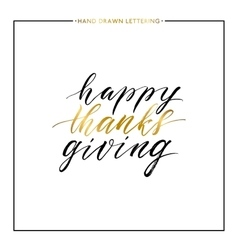Happy Thanks Giving gold text isolated on white vector image