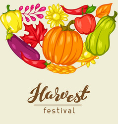 Harvest festival background with fruits and vector