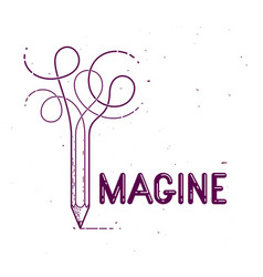 Imagine word with pencil instead letter i vector