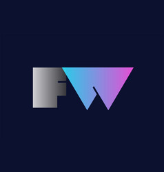 initial alphabet letter fw f w logo company icon vector image