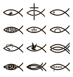 Jesus fish set vector