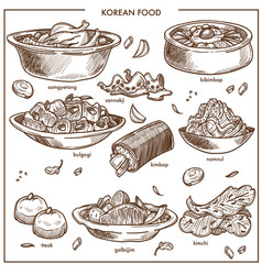 Korean cuisine food traditional dishes vector