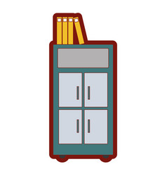 Line color archive cabinet file with books vector