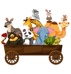 Many kinds of animals in wooden wagon vector