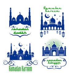 Mosque icons for ramadan kareem greetings vector