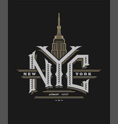 new york city logo emblem vintage style vector image