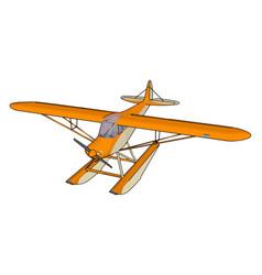 Orange seaplane on white background vector