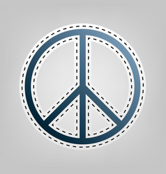 peace sign blue icon with vector image