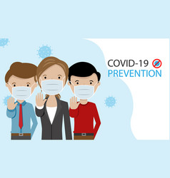 People with masks to stop coronavirus vector