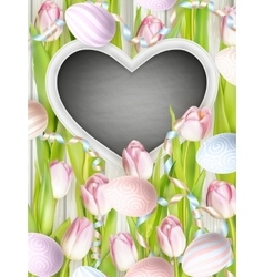 Pink tulips with blank blackboard EPS 10 vector