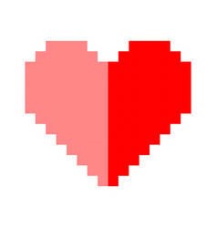 pixel art heart love color icon valentine vector image