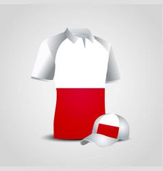 Poland sports t-shirt and cap design vector