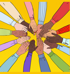 Pop art multicultural hands multiethnic people vector