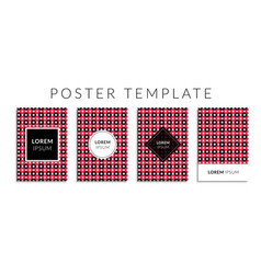 poster set with red color circle shape pattern vector image
