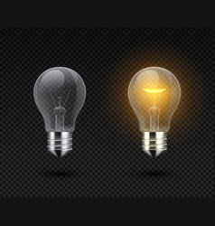 realistic light bulb glowing yellow and white vector image