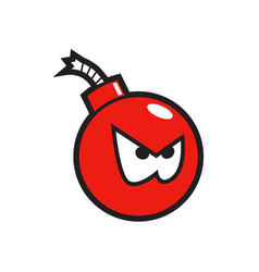 Red angry bomb sticker vector