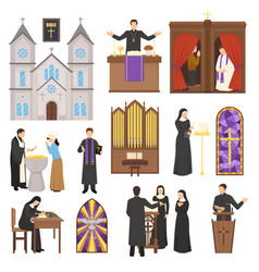Religion cathedral interior set vector