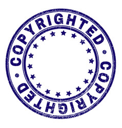 Scratched textured copyrighted round stamp seal vector