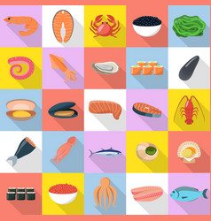 seafood fresh fish food icons set flat style vector image