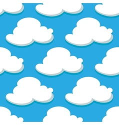 Seamless pattern of sky and white clouds vector image