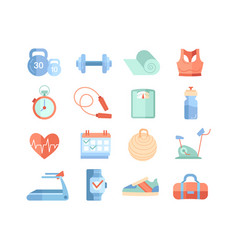 set 16 different sport and gym icons vector image