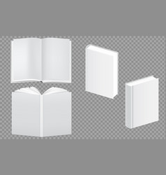 set blank book cover template closed and open vector image
