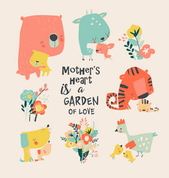Set cute animals for mothers day in cartoon vector
