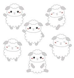 set of cute sheep set of cute sheep vector image