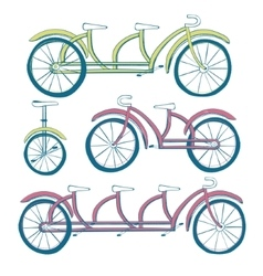 Set of four bicycles Unicycle tricycle tandem vector