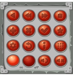 Set of red buttons game icons vector image