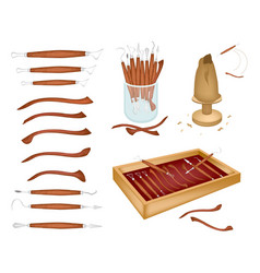 set of sculpting tools on white background vector image