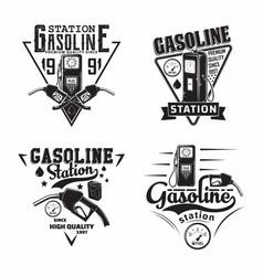 set vintage petrol station emblems design vector image