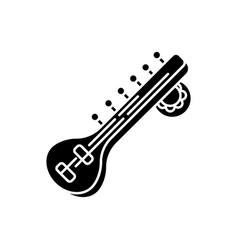 sitar black glyph icon vector image