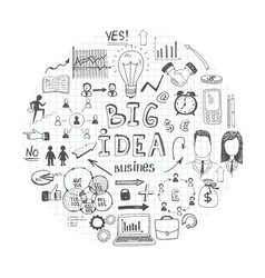 sketch business round concept vector image