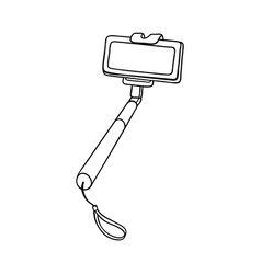 sketch selfie stick monopod with smartphone vector image