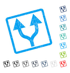 Split arrows up icon rubber watermark vector