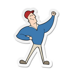 Sticker a cartoon man striking heroic pose vector