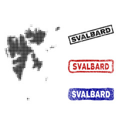 svalbard island map in halftone dot style with vector image
