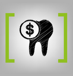The cost of tooth treatment sign black vector