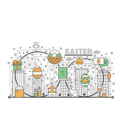 thin line art easter poster banner template vector image