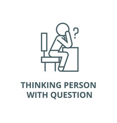 thinking person with question line icon vector image