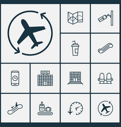 Traveling icons set with travel map seats phone vector