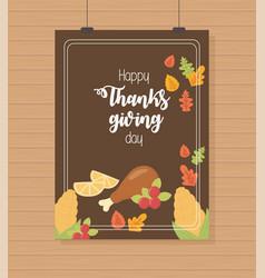 Turkey leg lemon folaige brown background happy vector