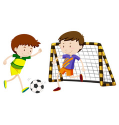 Two boys playing football vector