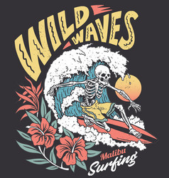 vintage graphic a surfing skeleton vector image