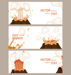 Volcanic eruption stages set of banners vector