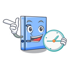 With clock office binder with file character funny vector