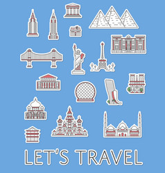 World traveling labels set in linear style vector